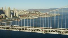 Aerial view San Francisco USA Oakland Bay Bridge city Skyscraper - stock footage