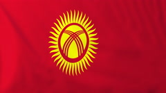 Flag of Kyrgyzstan waving in the wind, seemless loop animation - stock footage