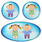 Icons with boy and girl - stock illustration