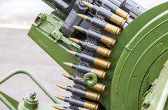 Stack of machine gun ammunition closeup Stock Photos