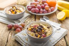 Homemade granola with fruit and chocolate - stock photo