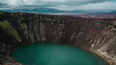 Kerið volcanic crater lake Iceland Landscape 4K Timelapse up to down Stock Footage