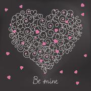 Greeting card with floral heart shape. Be mine sign Stock Illustration