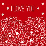 Red greeting card with floral heart shape. I love You sign - stock illustration