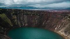 Kerið volcanic crater lake Iceland Landscape 4K Timelapse no camera movement - stock footage