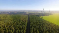 AERIAL: Modern Windmill Power production Stock Footage