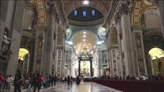 ULTRA HD 4K real time shot,The interior of St. Peters Basilica in Vatican Stock Footage