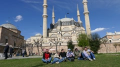 Park in front of Selimiye Mosque Edirne, Turkey Stock Footage