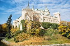 Bojnice castle in Slovakia, cultural heritage, seasonal scene - stock photo