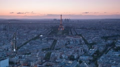 Paris panorama with Eifel tower and night city lights Stock Footage