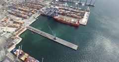 Cargo shipping in seaport Stock Footage