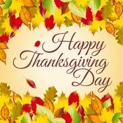 Happy Thanksgiving Day card - stock illustration