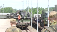 Unloading Tanks during Railhead Ops (Germany) Stock Footage
