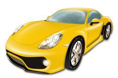 Yellow Luxury Car Piirros