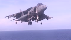 AV-8B Harrier jets aboard the USS Bonhomme Richard Stock Footage