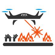 Laser Drone Attacks Village Icon Stock Illustration