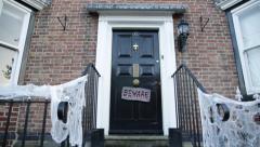 Halloween door decoration in England Stock Footage