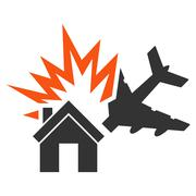 Aircraft House Collision Icon - stock illustration