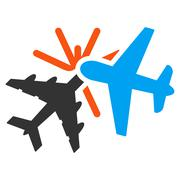 Airplane Collision Icon - stock illustration