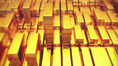 4k Gold bullion gold bars treasury wealth Ingot luxury finance goods trading. - stock footage