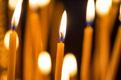 Light of candles in the church - stock photo
