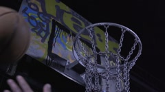 Outdoor basketball hoop slowmotion Stock Footage
