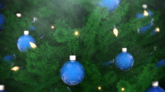 Christmas tree decoration with balls and light bulbs - stock footage