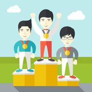 Cheerful winners on pedestal - stock illustration