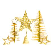 fir-tree with star isolated on white background - stock photo