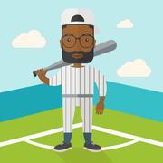 Baseball player on field Stock Illustration