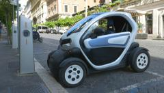 Renault Twizy electric car in Rome, Italy. Stock Footage