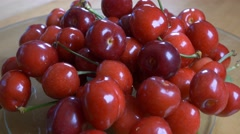 Fresh fruit 4k red cherries rotating natural new spring harvest healthy eating Stock Footage