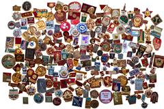 History of the USSR in the badges - stock photo