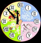 Autumn legs and clock Stock Illustration