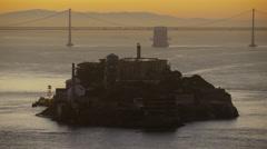 Aerial sunrise view The Rock Alcatraz Island San Francisco America Stock Footage