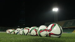 Soccer balls at the pitch before the game Stock Footage