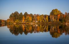 Fall colours near Gravenhurst, Muskoka Region of Ontario, Canada - stock photo