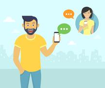 Happy guy is chatting with friends via messenger app - stock illustration