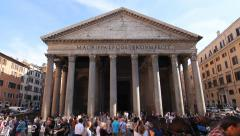 Front view of Pantheon with tourists in Rome, Italy. Wide angle. Stock Footage