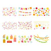 Scrapbook Design Elements Birthday Party Set - stock illustration