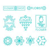 Vector Floral and Gardening Logos - stock illustration