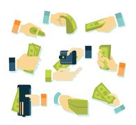 Money in Hands Icons - stock illustration