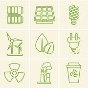Ecology icons - stock illustration