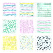 Set hand drawn textures - stock illustration