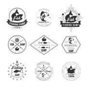 Vintage pike fishing emblems, labels and design elements Stock Illustration