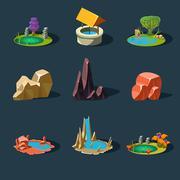 Elements Landscape ,Rocks ,Water Well ,Waterfall ,Lake, Vector Illustration - stock illustration