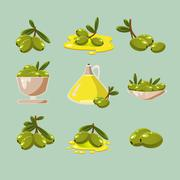 Green Olives Vector - stock illustration