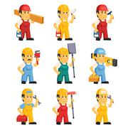 Technician , Working a Set of People Stock Illustration