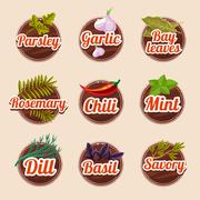 Set of herbs and spices Stock Illustration