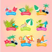 Summer Party Labels And Elements Set Isolated - stock illustration
